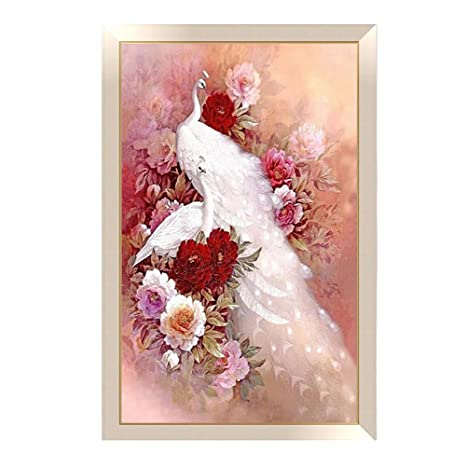 01fa34961c 5D Full Diamond Painting Peacock Flowers Cross Stitch Kits Crystal  Embroidery Mosaic Diy Canvas Wall Art Decorative Paintings for Kids Girls  Women ...
