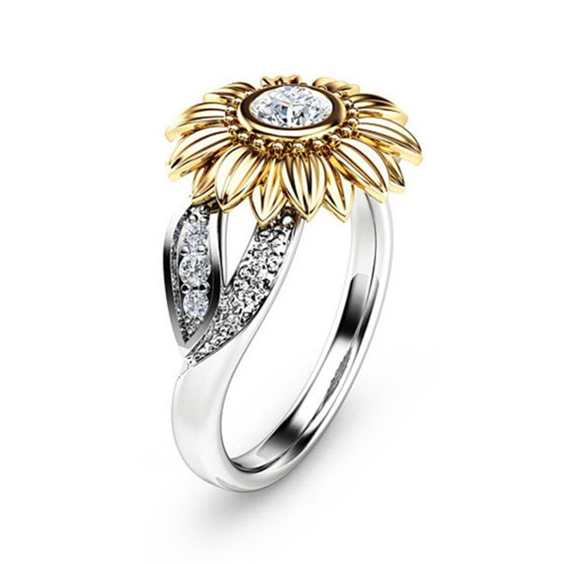 DALARAN Cubic Zirconia Ring for Women Cushion Solitaire Leaf Band Wedding Enagement Ring Size 8
