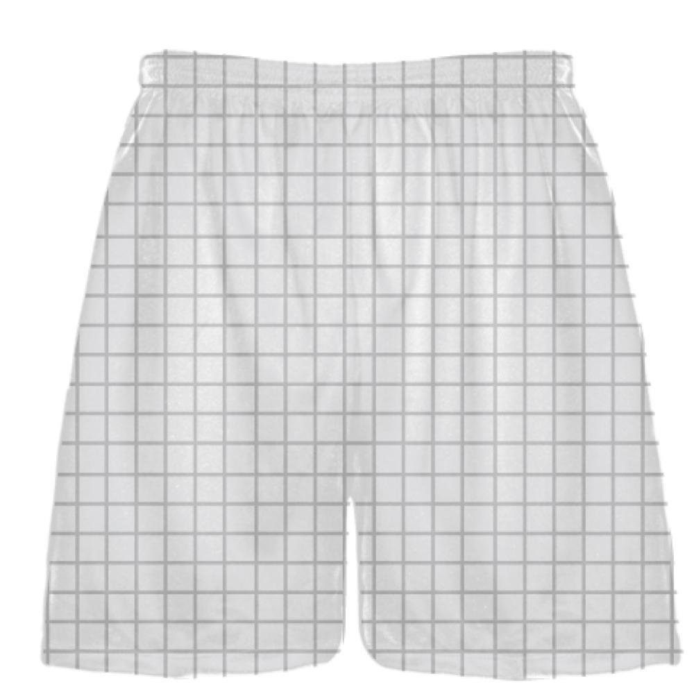 Youth Grid White Silver Lacrosse Shorts Pink Lax Shorts Youth Lacrosse Shorts Youth White