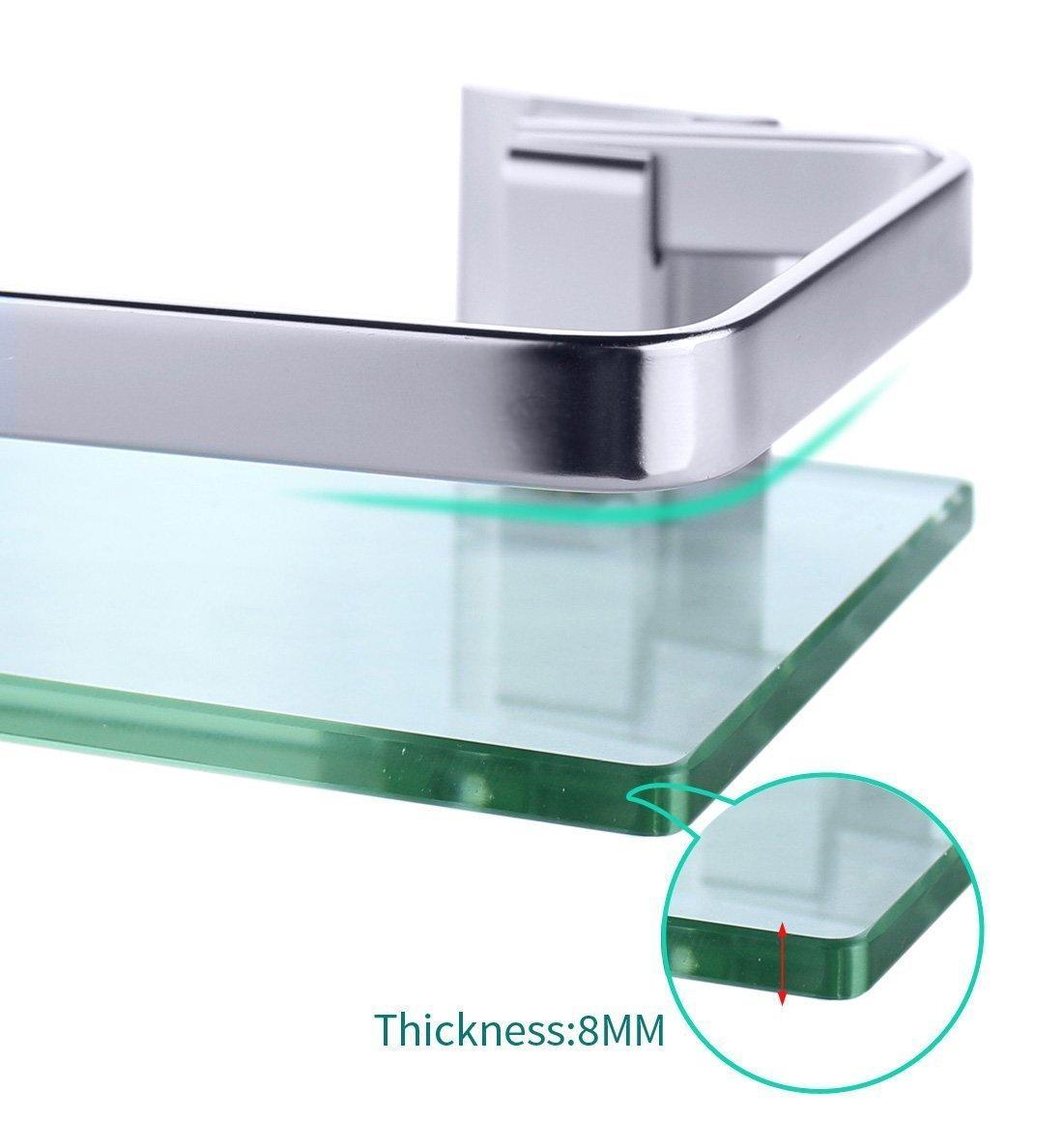 Joyoldelf Thickened Glass Aluminum Bathroom Shelf Rack Wall Mounted ...