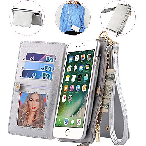 iphone 7/8 Wallet Case with Crossbody Strap,Auker 2 in 1 Detachable Leather Zipper Wallet Case with 12 Card Holder&Money Pocket Folio Flip Folding Stand Purse Message Bag for Women iphone 7/8 (Silver)