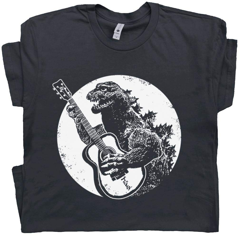 L - Dinosaur Playing Guitar T Shirt Acoustic Elecrtic Guitarist Led Vintage 80s Jam Band Rock Poster Bass Graphic Black by Shirtmandude T-Shirts
