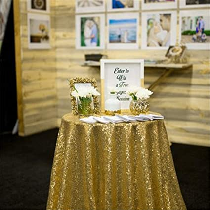 fd374f159fe4 Image Unavailable. Image not available for. Color  QueenDream 50 quot Sequin  Tablecloth Round Designed Gold Table Cover for Wedding Party ...