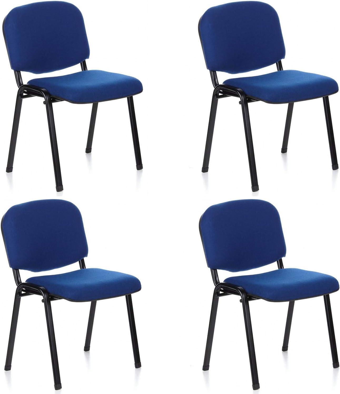 hjh OFFICE 704510 silla de confidente XT 600 lote de 4 tejido negro / azul, apilable, acero estable, 4 sillas
