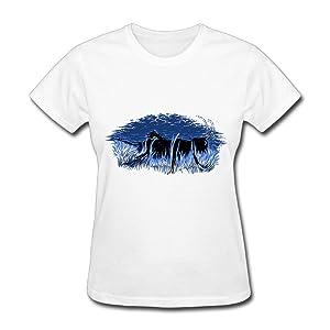 HM Women's T Shirts Dark Blue Sky Size XS White