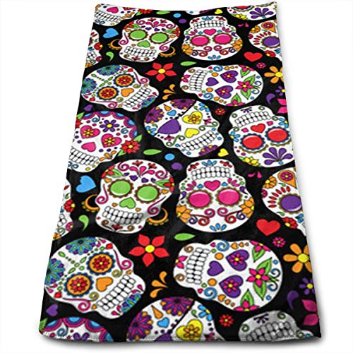 A Day's Worth of Dead Sugar Skull Bath Towels for Bathroom-Hotel-Spa-Kitchen-Set - Circlet Egyptian Cotton - Highly Absorbent Hotel Quality Towels