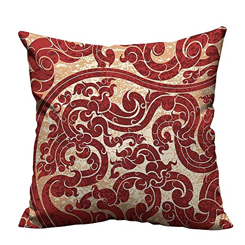 (YouXianHome Sofa Waist Cushion Cover Thai Culture Vector Abstract Background Flower Wallpaper Burgund Decorative for Kids Adults(Double-Sided Printing) 13x17.5 inch)