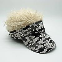 Yiwa Novelty Funny Wig Hair Sun Peaked Cap Hip-hop Sunshade Golf Cap Creative Wig Baseball Hat Camouflage Gold Hair