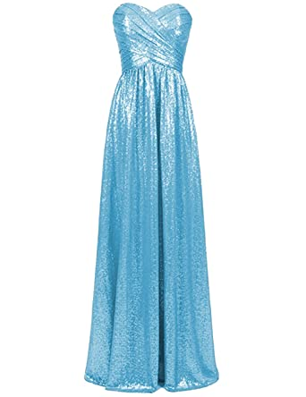 Cdress Sequins Sweetheart Long Bridesmaid Dresses Wedding Maxi Prom
