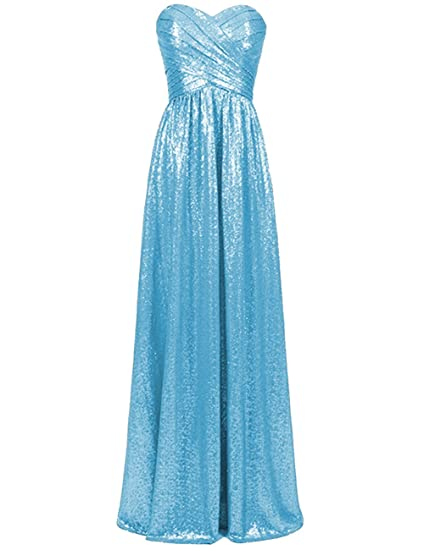 82a0c5badf1 Sequins Bridesmaid Dresses Long Prom Evening Dress Sweetheart Wedding Maxi  Formal Party Gowns Blue US 2