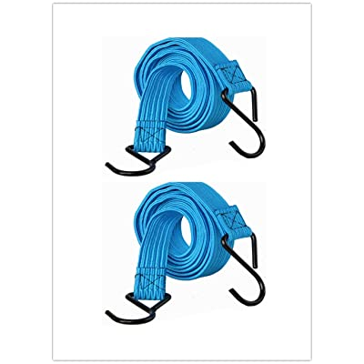 HeavyWeight Flat Bungee Cords 2 PACK with Metal Hooks | 39 INCH Total Length | Hand Carts, Dolly, Cargo, Moving, Camping, RV, Trunk, Luggage Rack, Tarp Tie Down (Blue)