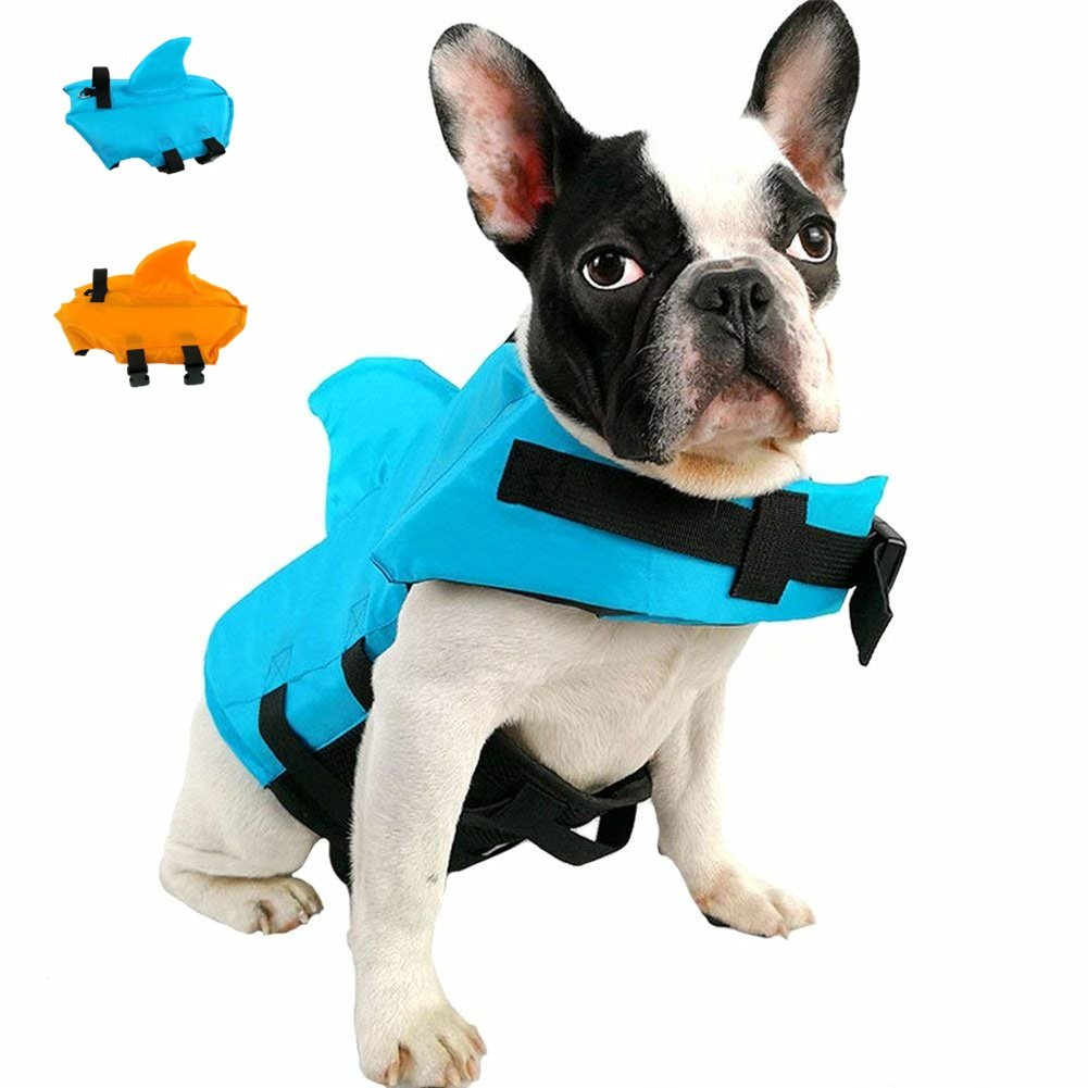 AOFITEE Dog Life Jackets- Pet Life Vest with Shark Fin, Superior Buoyancy & Rescue Handle,Safety Life Preserver Saver for Pool Beach Water Activity