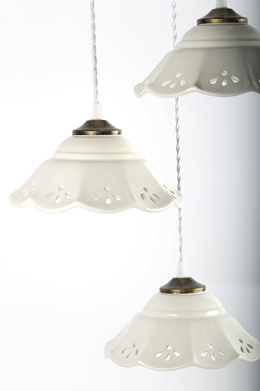 Creazioni Armony, lampadario in ceramica traforato e decorato a mano, 3 luci lunghezza massima 100cm circa