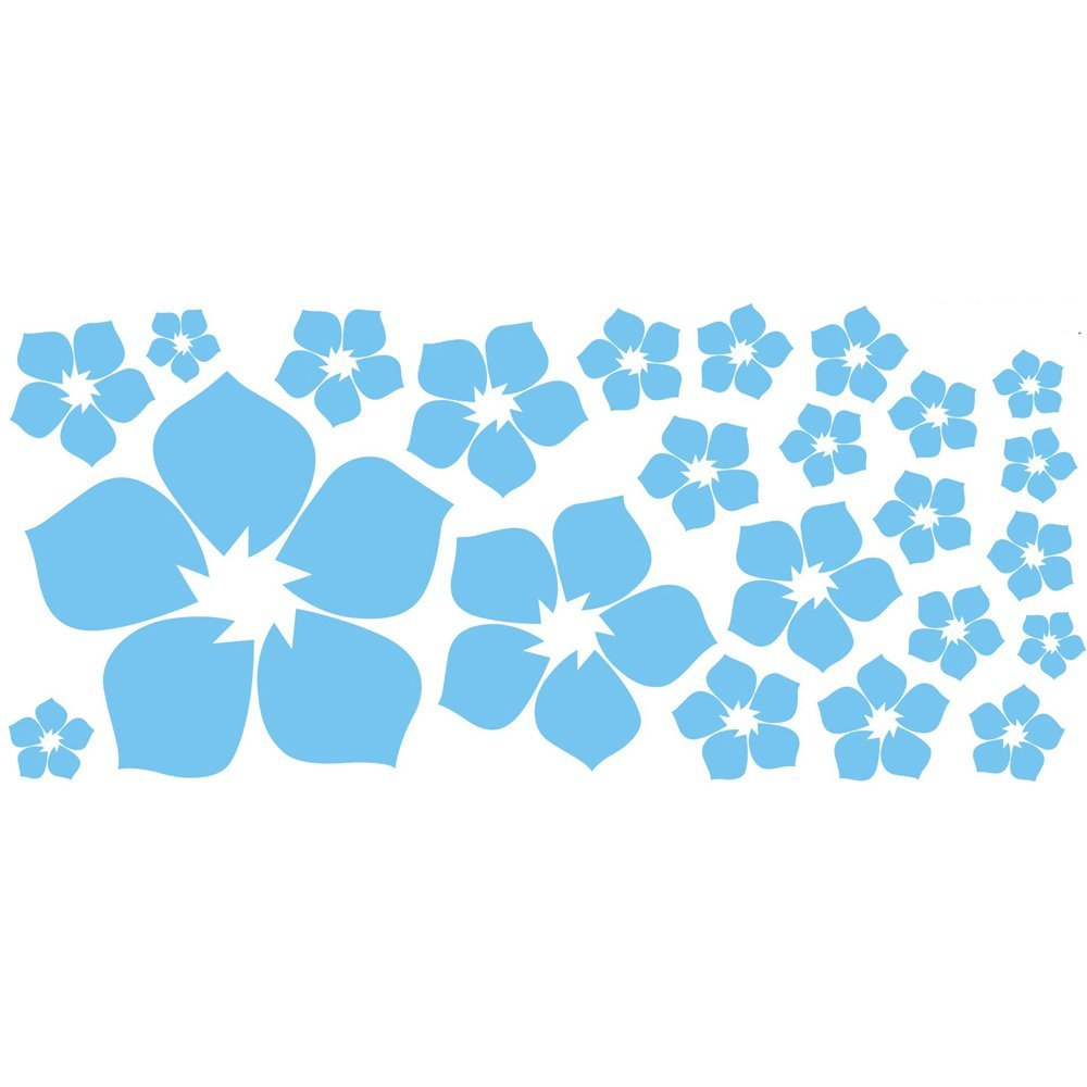 ufengke® 23-Piece Small Flowers DIY Wall Decals, Living Room Bedroom Removable Wall Stickers Murals, Blue Ufingo UT-WL0358-C