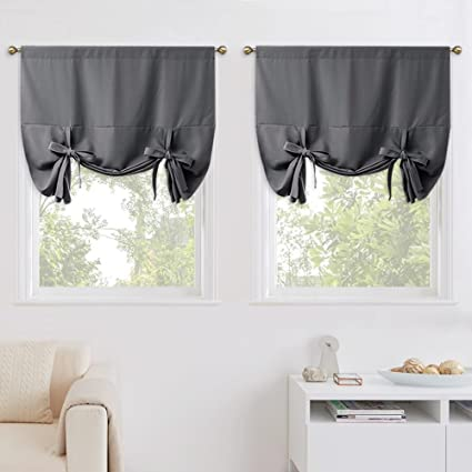 nicetown blackout kitchen window curtains thermal insulated tie up shade for small window privacy - Small Window Curtains
