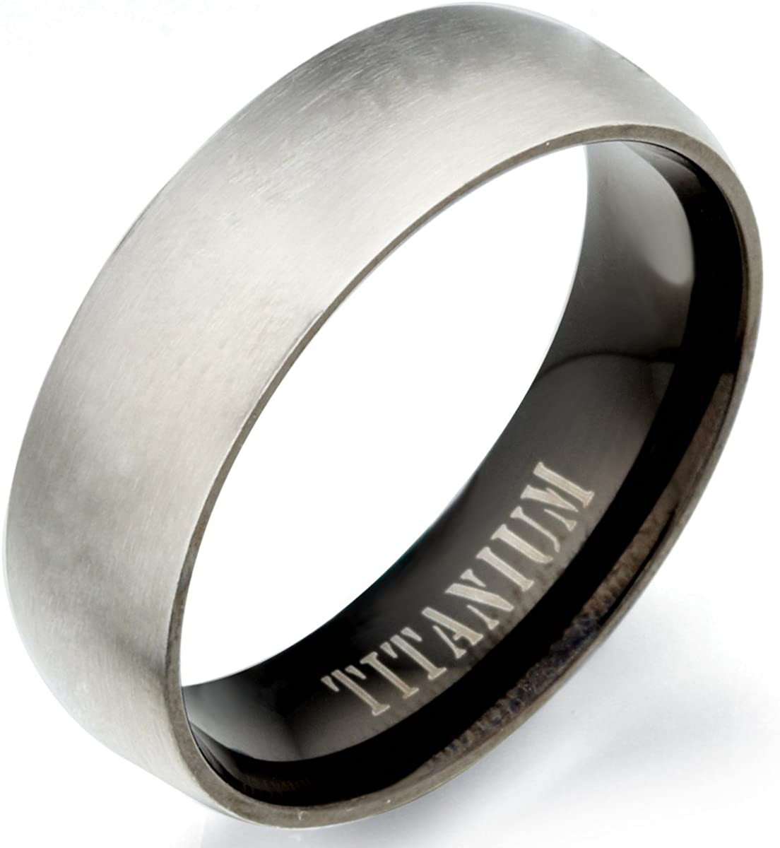 6 15.5 Women Ring Size Gemini Groom /& Bride Two Tone Black /& Silver Brush /& Polish Titanium Wedding Ring Set Width 7mm /& 5mm Men Ring Size