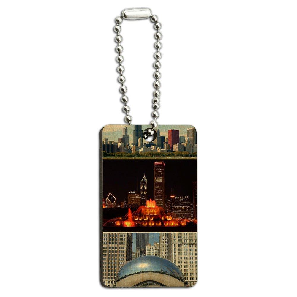Chicago - Bean Buckingham Fountain City Skyline Wood Wooden Rectangle Key Chain
