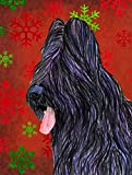 Caroline's Treasures SS4696CHF Briard Red and Green Snowflakes Holiday Christmas Canvas House Flag