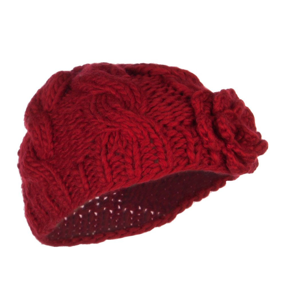 Jeanne Simmons Girls Cable Knit Flower Beanie