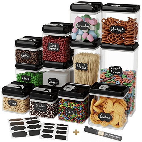 Chef's Path Airtight Food Storage Container Set - 12 PC Set - 16 BONUS Chalkboard Labels & Marker - BEST VALUE Kitchen & Pantry Containers - BPA Free - Clear Durable Plastic with Black Lids by Chef's Path