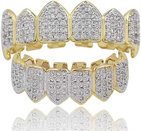 TOPGRILLZ 18K Gold Plated Joker Fully Iced Out CZ Vampire Top and Bottom Grillz for Your Teeth with Extra Molding Bars