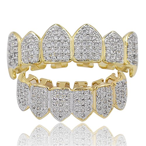 TOPGRILLZ 18K Gold Plated Fully Iced Out CZ Vampire Top and Bottom Grillz for Your Teeth with Extra Molding Bars ()