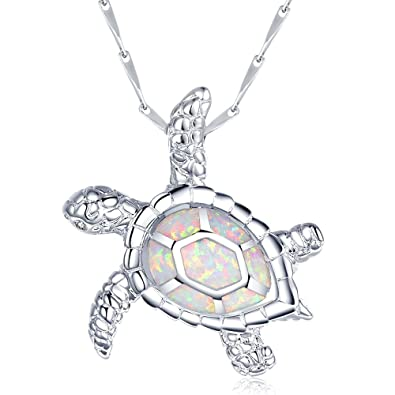 Amazon sifunuo 925 silver lovely white opal hawaiian sea turtle sifunuo 925 silver lovely white opal hawaiian sea turtle pendant large valentines jewelry aloadofball Image collections