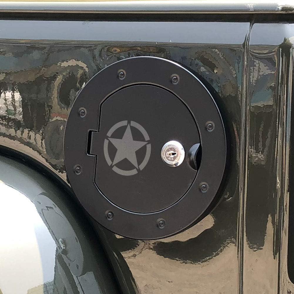 bestaoo Jeep JK Aluminium Gas Tank Cap with Lock Fuel Filler Door Cover for 2007-2017 Wrangler JK Jeep JK Gas Tank Cap Cover USA Flag