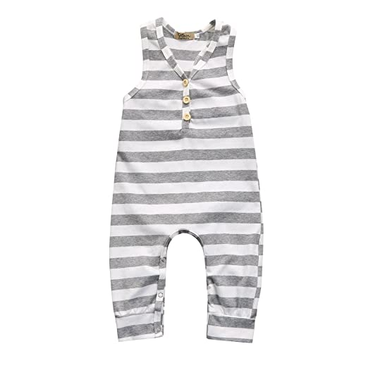 ec1597d01 iumei Baby Boys Girls Gray and White Stripe Sleeveless Romper Bodysuit  Jumpsuit Cotton (6-