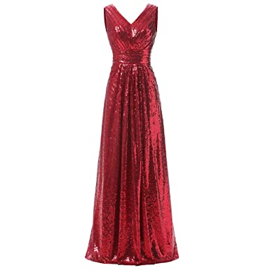 Womens Sexy Party Formal Prom Dress Red Sleeveless Deep V Chiffon Evening Dress