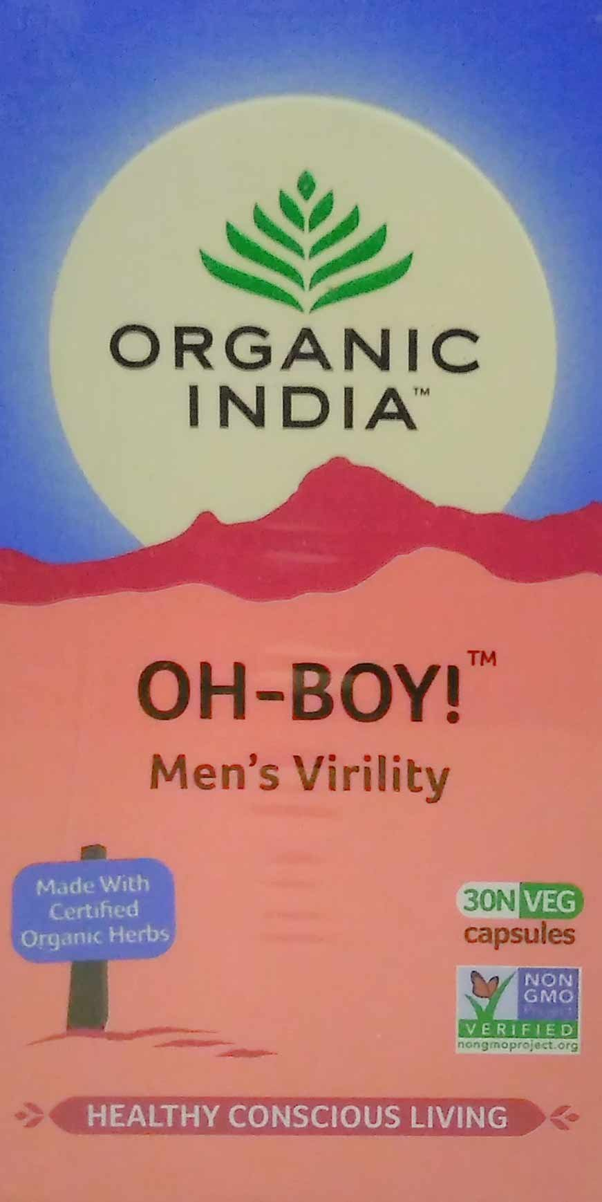 Organic India 30 Piece Oh Boy Men's Virility Formula Vegetarian Capsules