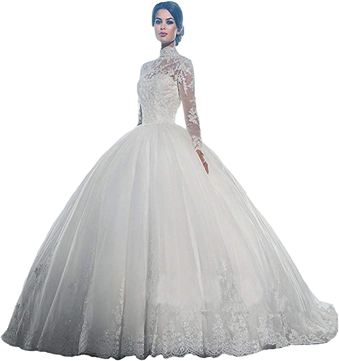 Yuxin High Neck Long Sleeves Wedding Dress Lace Ball Gown Wedding Gowns Bridal Dresses