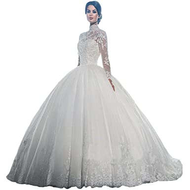 Wedding Dress With Sleeves.Yuxin High Neck Long Sleeves Wedding Dress Lace Ball Gown Wedding Gowns Bridal Dresses