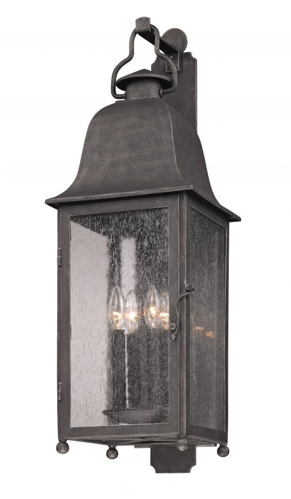 Amazon com troy lighting larchmont 4 light outdoor wall lantern aged pewter finish with clear seeded glass home improvement