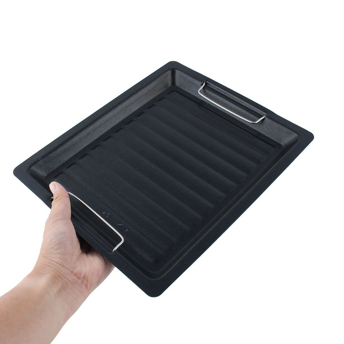 DealMux Outdoor Camping Picnic BBQ Barbecue Metal Grill Tool Drip Tray Roasting Pan