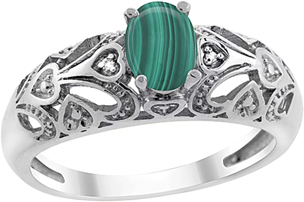 Natural Malachite White Gold Plated Adjustable Ring White Gold Plated Adjustable Ring With Malachite Oval Cabochon 12x16mm