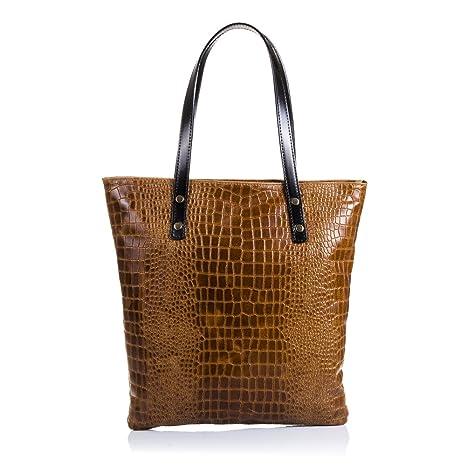 Bolso Shopping Bag de Mujer Piel auténtica.Bolso Mujer Cuero Genuino  Serpiente 488d34c5c815
