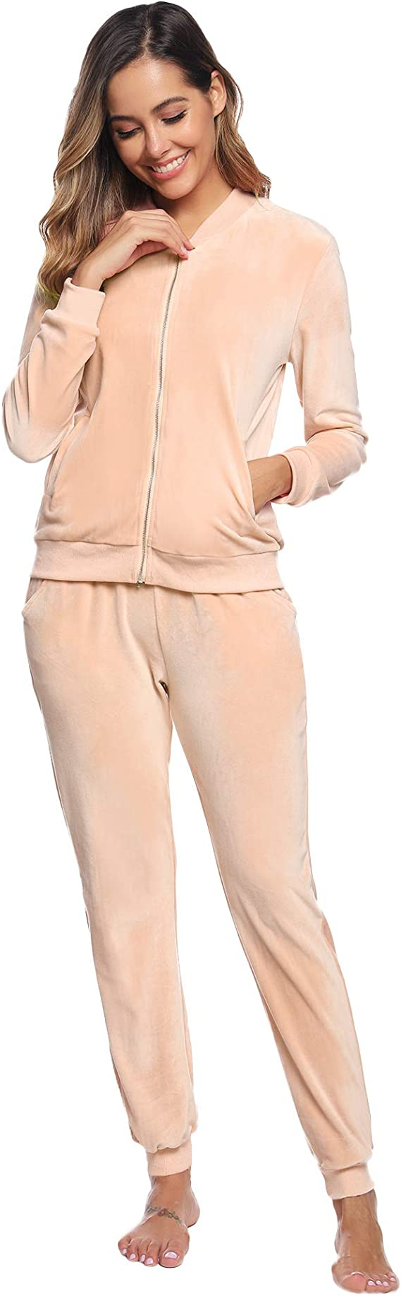Women Tracksuit Long Sleeve  Zipper Sweatshirt Striped Pants Activewear Set Suit