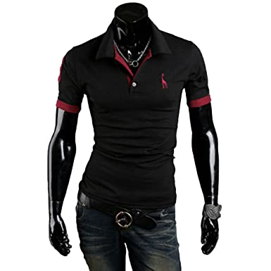 Fashion Men's Stylish Slim Fit Short Sleeve Casual Polo Shirts T ...