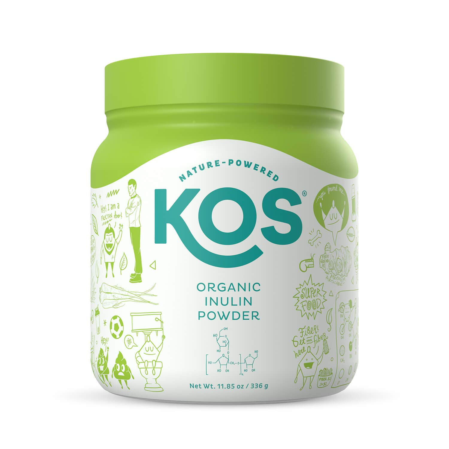 KOS Organic Inulin Powder - Unflavored Inulin (Agave) Prebiotic Intestinal Support Powder - USDA Organic, Digestive Health Promoting, Gluten Free Plant Based Ingredient, 336g, 112 Servings