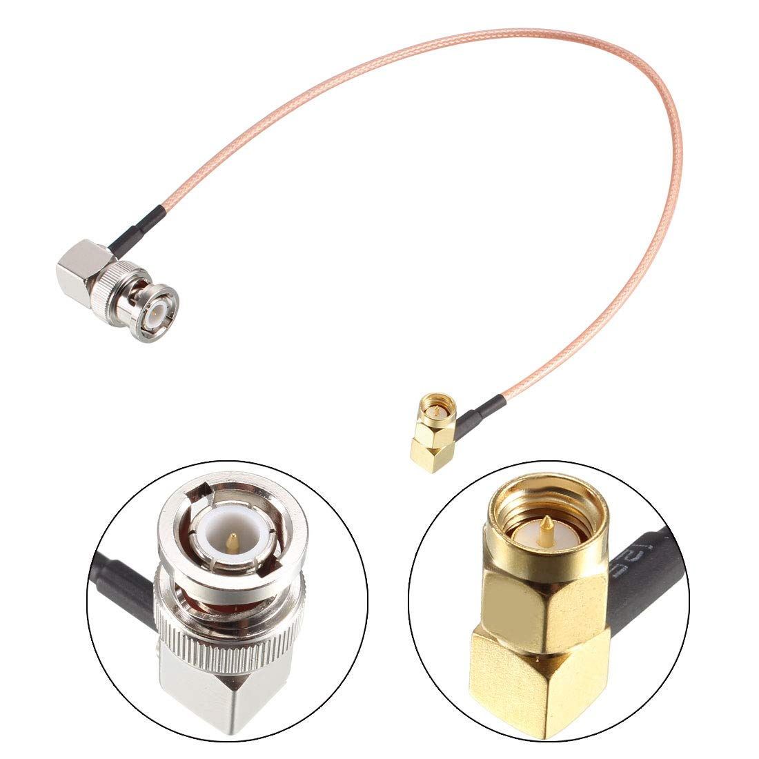 uxcell BNC Male Right Angle to SMA Male Right Angle RG316 Coax Cable 50 Ohm 1-feet