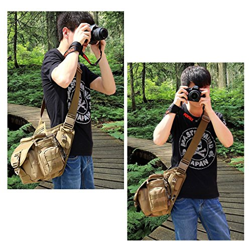 82626c5529b8 Camera Shoulder Bag, Qcute Waterproof Multi-functional Tactical ...