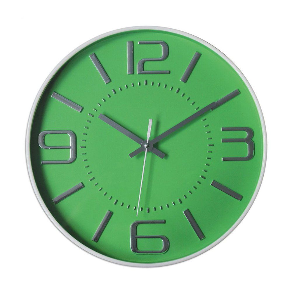Graceful Silent Wall Clock, 12'' Green 3D Numbers Arabic Dial and Round Easy to Read with Non-ticking Movement and Battery Operated for Home/School/Hotel/Office