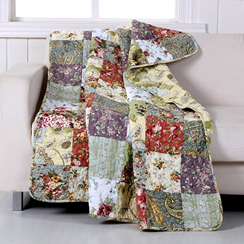 Cotton Quilt Floral Throw - Greenland Home Blooming Prairie Quilted Patchwork Throw