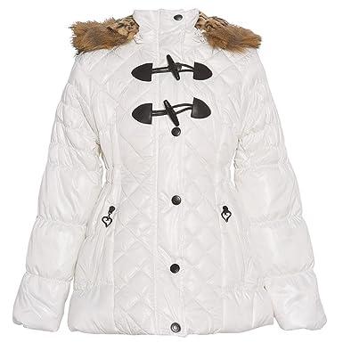 e52d52bcfdae Urban Republic Big Girls White Fur Trim Belted Hooded Puffer Coat 14 ...