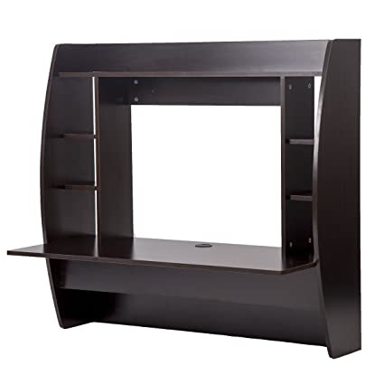 New Wall Mounted Floating Office Computer Desk With Storage (Brown)