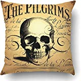 I DO Throw Pillow Covers Vintage Steampunk Halloween Death Flower Skeleton Calligraphy Color Abstract Polyester Square Hidden Zipper Decorative Pillowcase