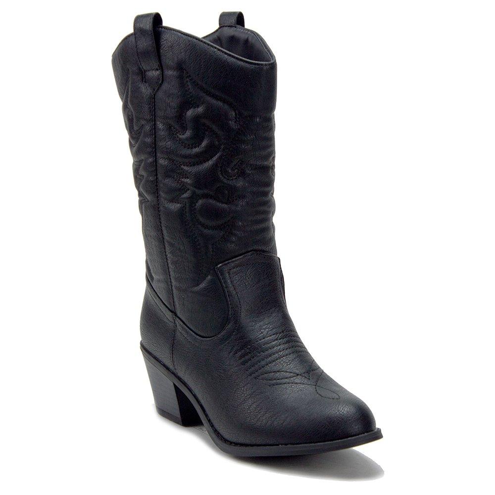 J'aime Aldo Women's BDW-14 Tall Stitched Western Cowboy Cowgirl Boots, Black, 8.5 by J'aime Aldo