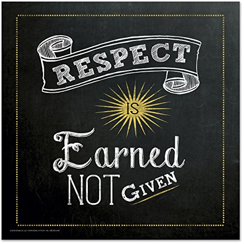 ECHO-LIT Respect is Earned Mini Quote Poster. Inspirational Chalkboard Art Print.