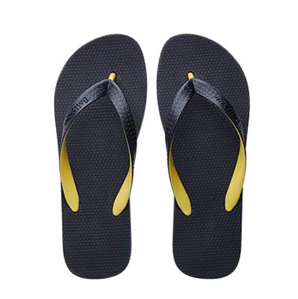 Yellow FuweiEncore Men's Lightweight Flip Flops Beach Sandals Summer Slippers, Yellow, 44 (color   Black, Size   42)